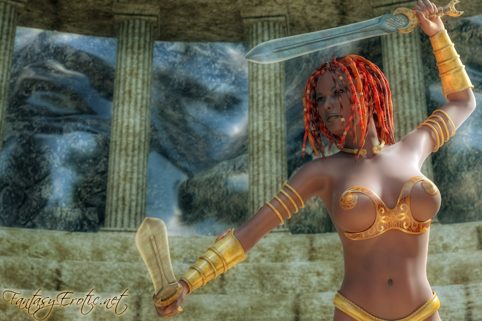 Female fantasy fighters nude erotic toons