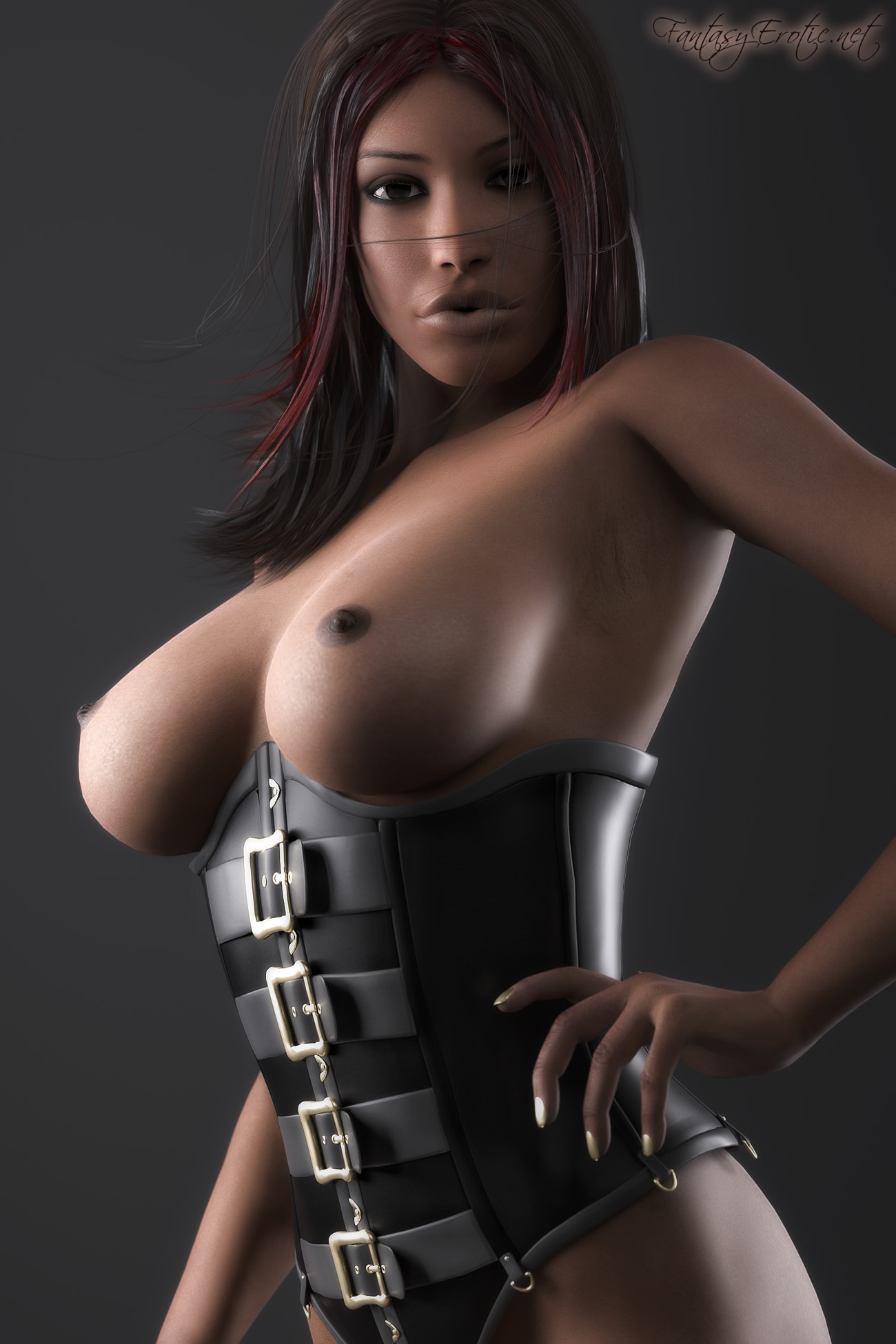 Tits Sey Portrait Pinup Nude Late Fetish Erotic Ebony Corset Breasts