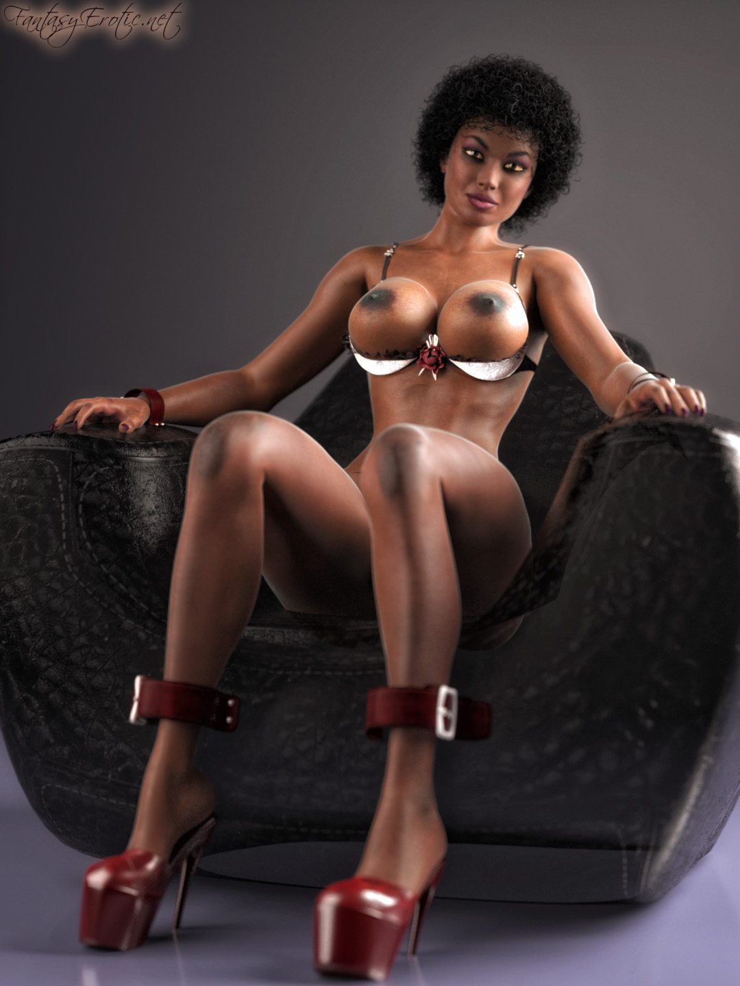 Ebony Woman on Bondage Sofa