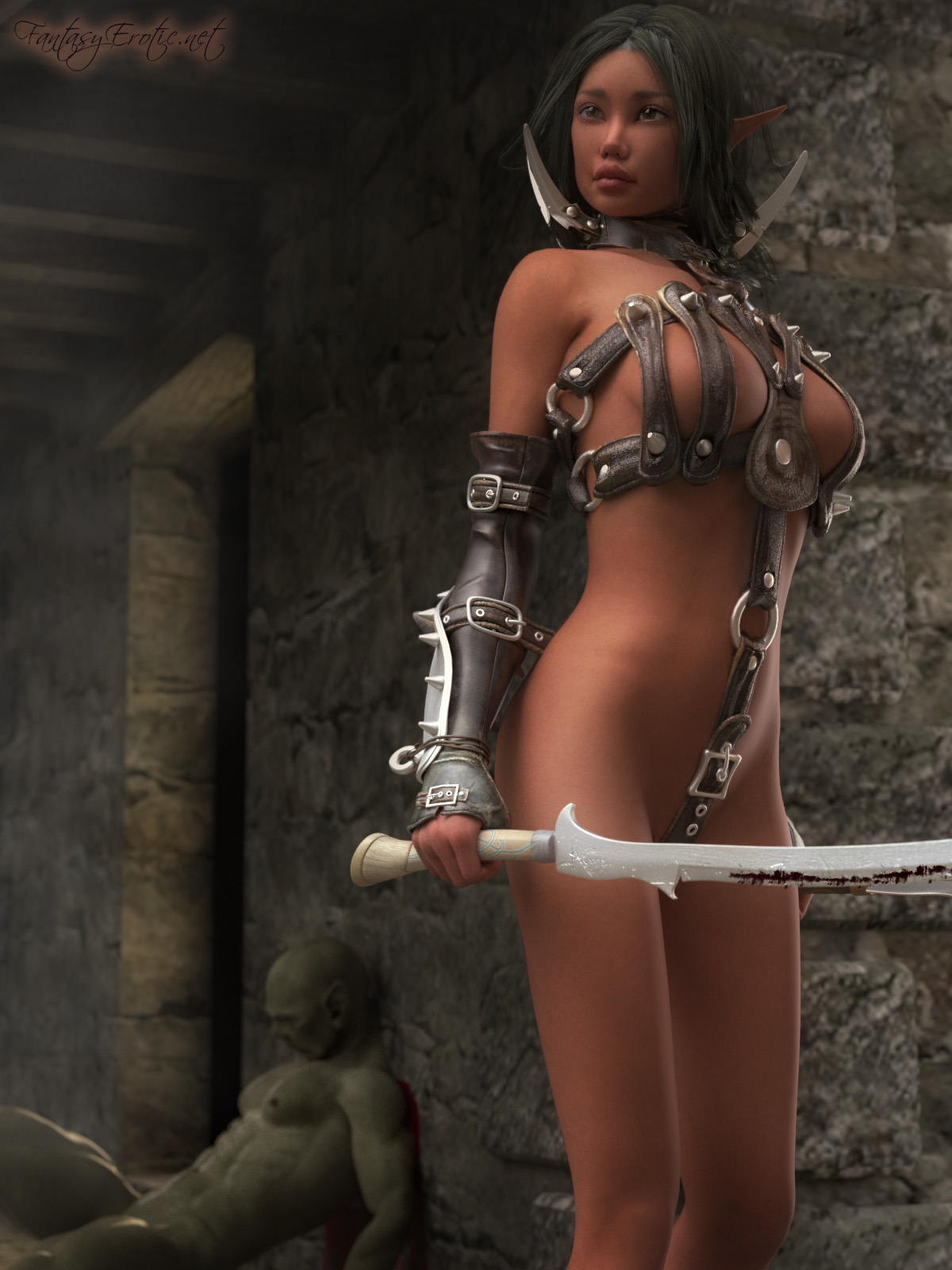 Animated sexy elf warrior naked sexy scene