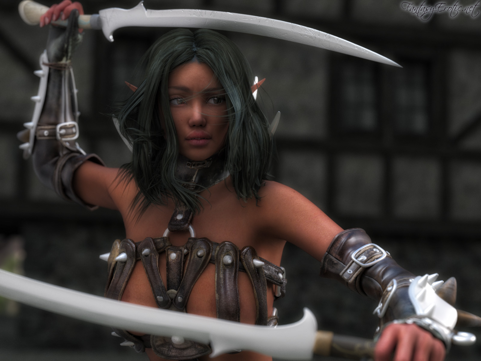 Sexy elf warrior portrait