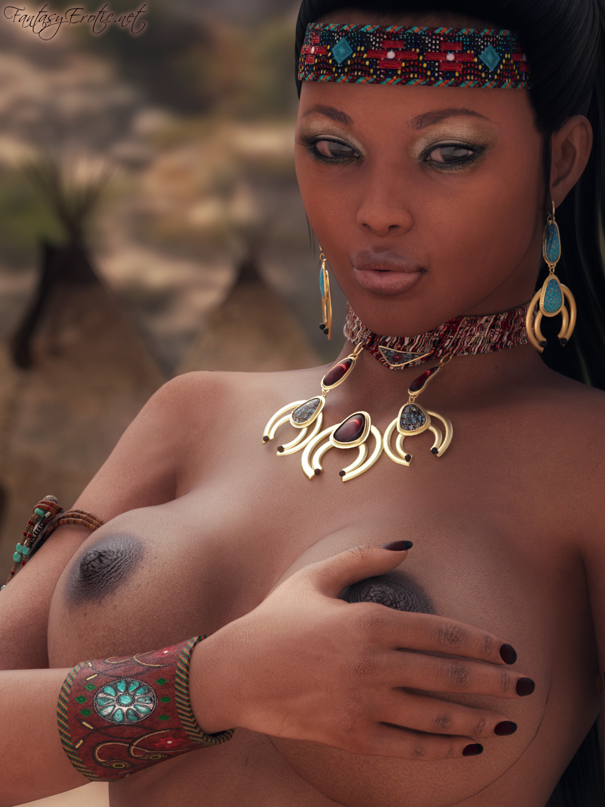 Topless Native American Woman