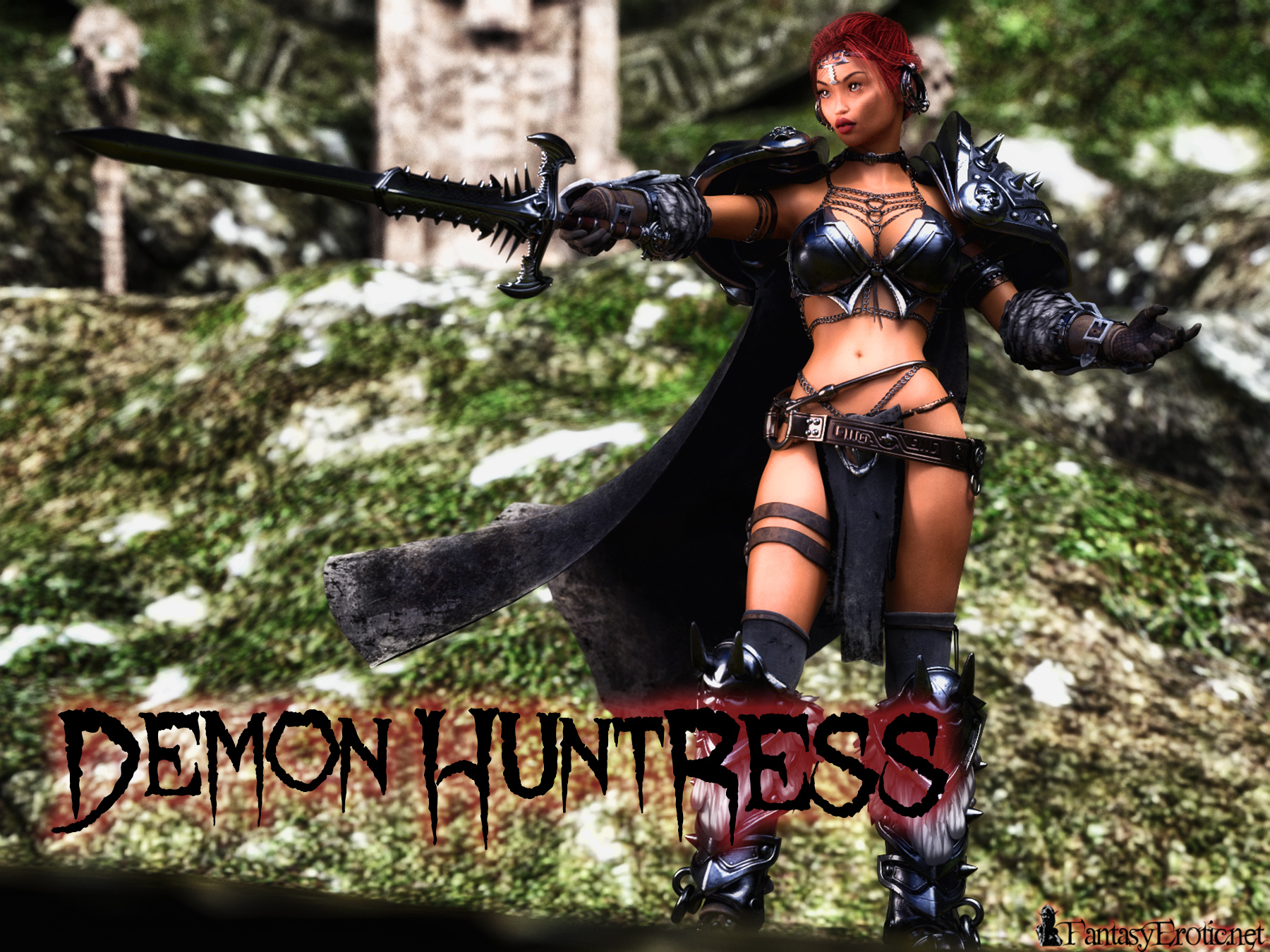 Sexy Demon Huntress Fantasy Wallpaper