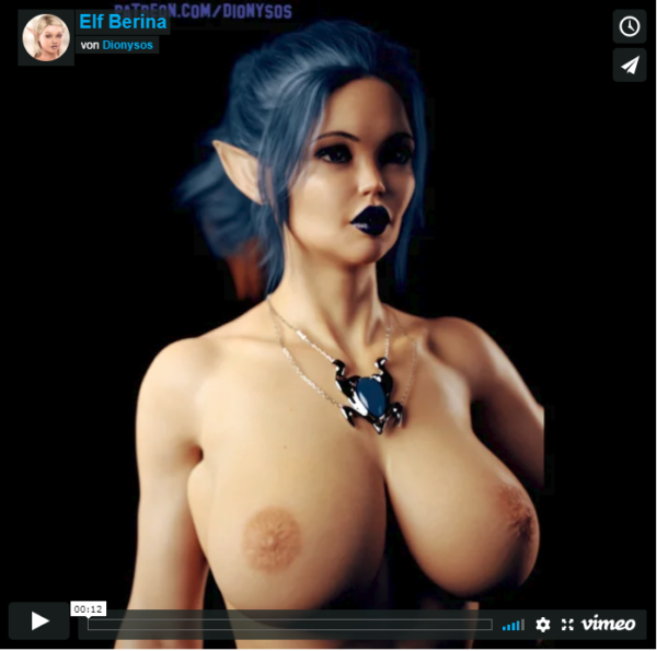 Busty Elf Berina 3D Animation