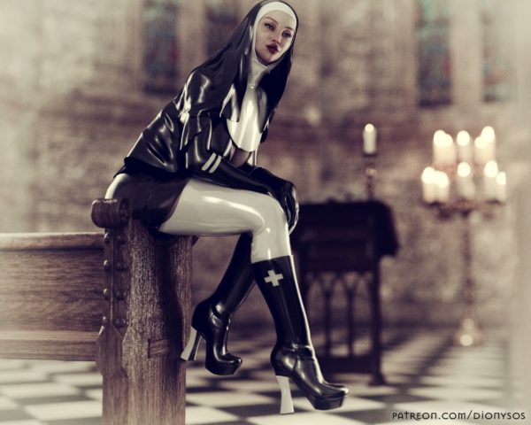 Vintage Fetish Nun Wallpaper