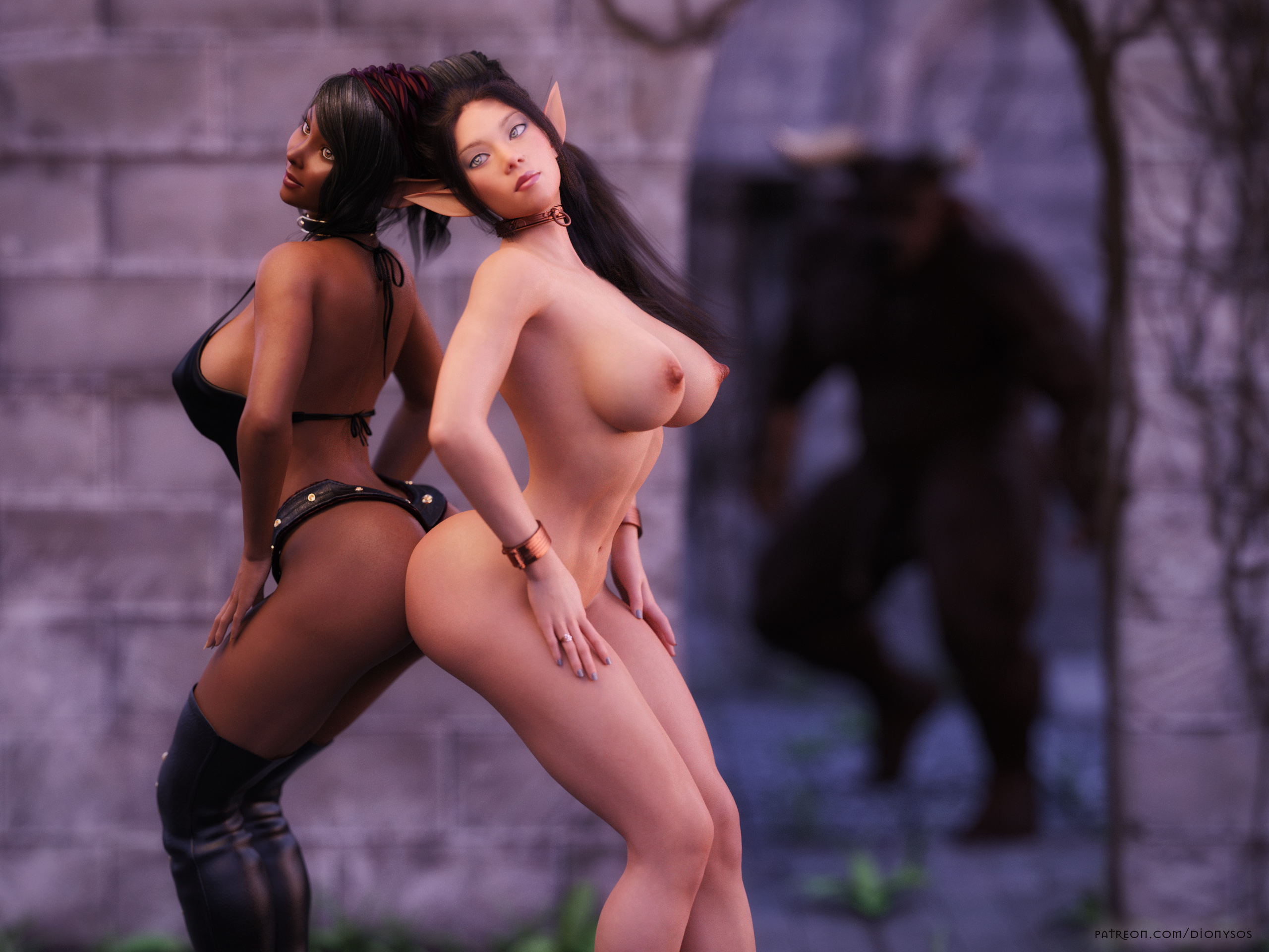 QHD Wallpaper with two busty elves Nia and Jely'ria