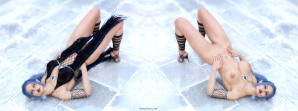 Elf Berina posing on the floor with and without clothes
