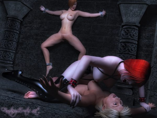 Sexy Vampire Cassandra with nude victim Wallpaper