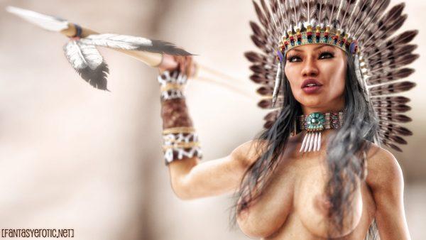 Topless American Native Girl Wallpaper