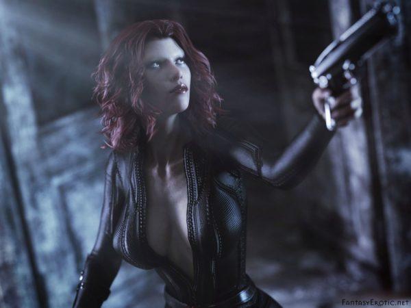 Black Widow in black catsuit with gun
