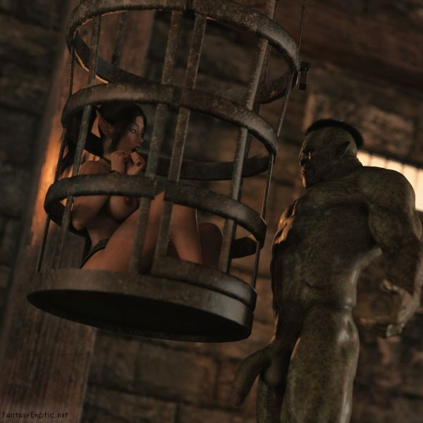 Busty elf Nia caged by a orc