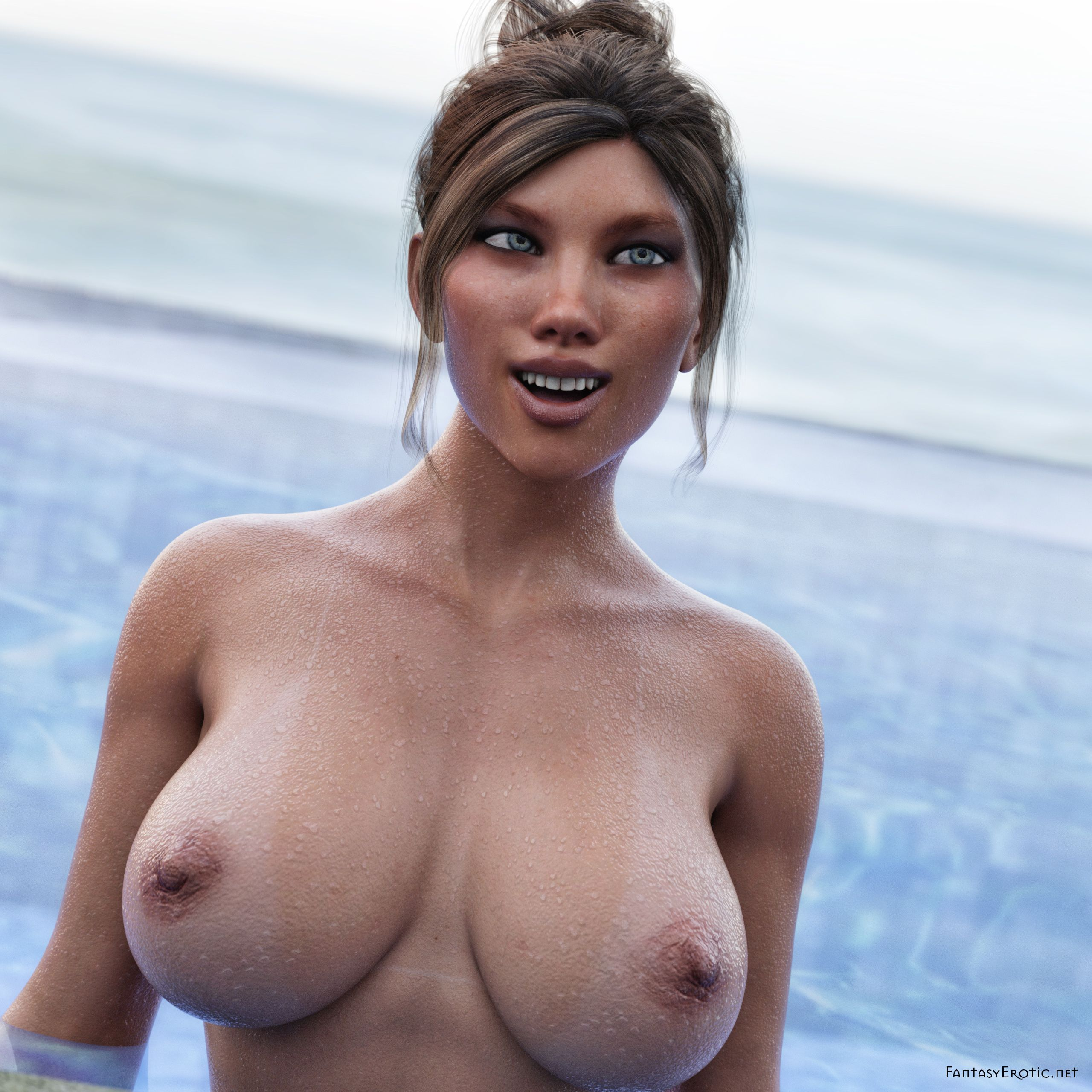Sally shows us her big wet breasts with tan lines