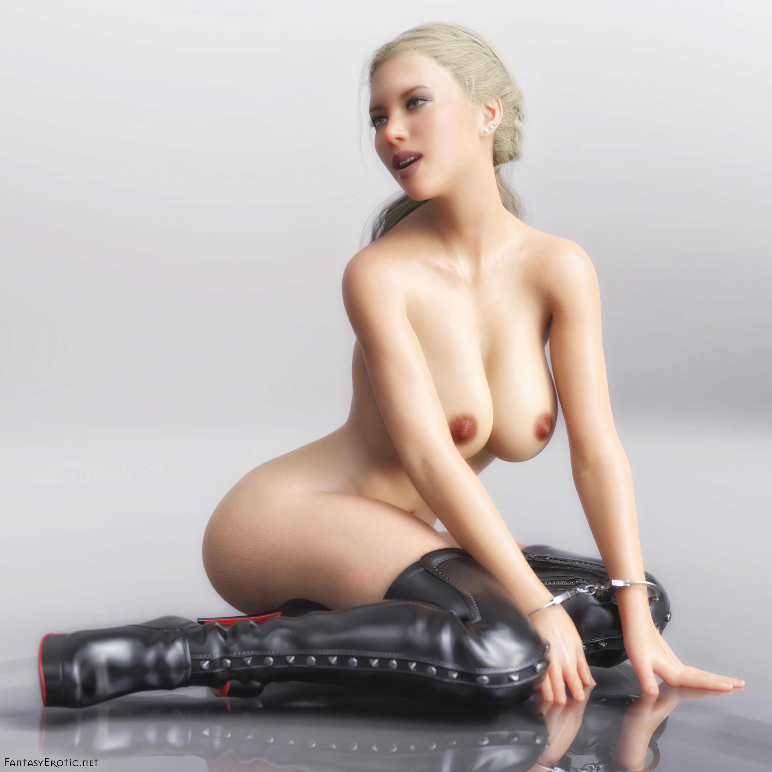 High key fetish portrait of woman with handcuffs and boots