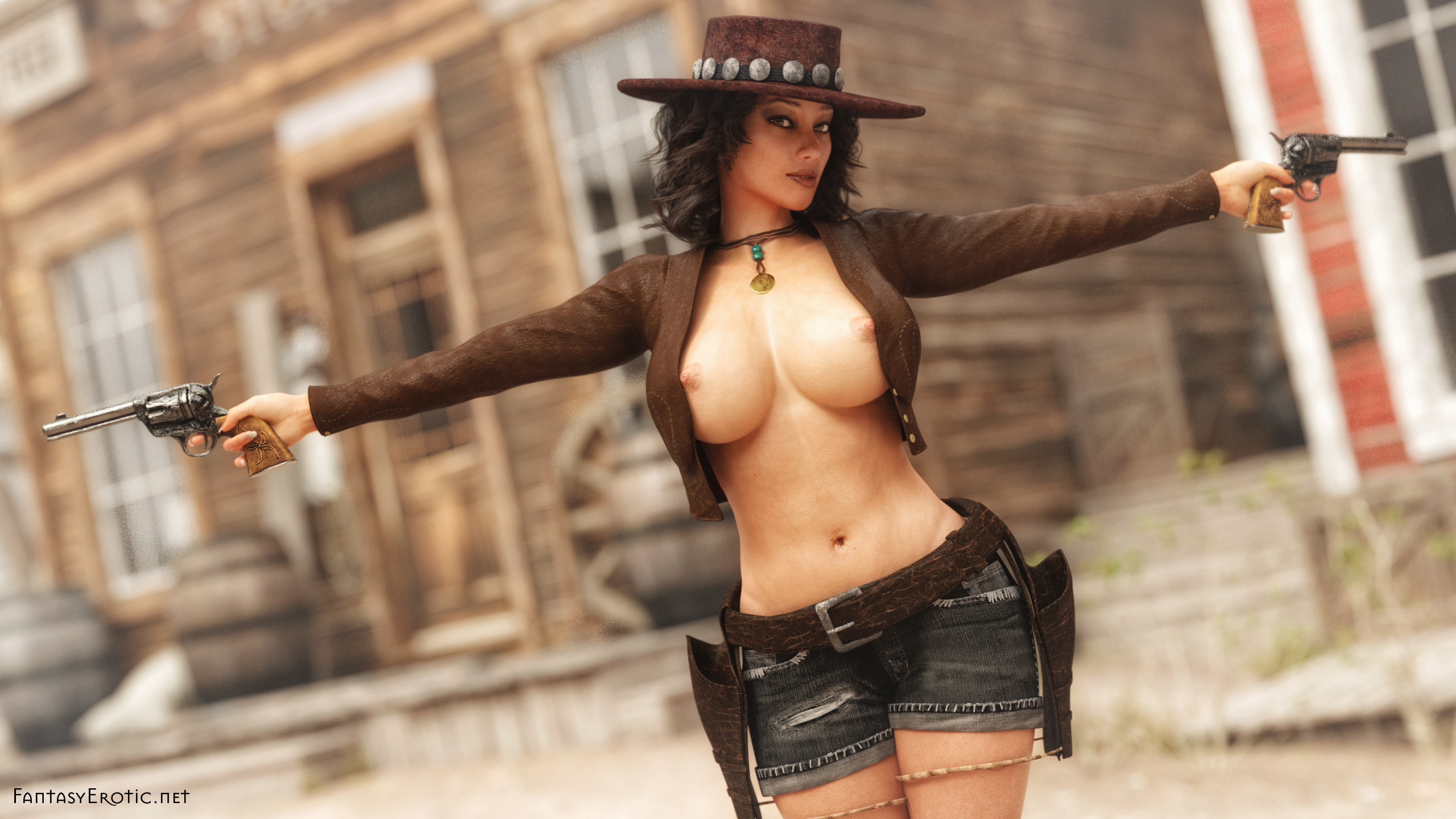 Wallpaper of a busty bountyhunter